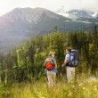 Tourist couple at mountains — Stock Photo #48521511