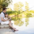 Father fishing with his daughter — Stock Photo #48645355