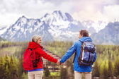 Hikers couple during the walk — Stock Photo