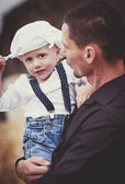 Boy playing with dad — Stock Photo