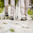 Legs of couple hiking at mountains — Stock Photo #49713395
