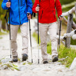 Legs of couple hiking at mountains — Stock Photo #49713449