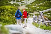 Tourist couple hiking at mountains — Foto Stock