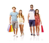 Students with shopping bags — Stock Photo