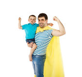 Father as hero with son — Stock Photo