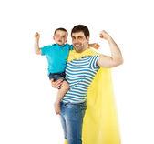 Pai como herói com o filho — Foto Stock