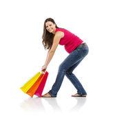Kobieta w ciąży z torby na zakupy — Zdjęcie stockowe