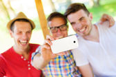 Three friends taking selfie — Stock Photo