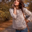 Stock Photo: Young woman in autumn park