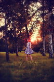 Girl in forest — Stock Photo