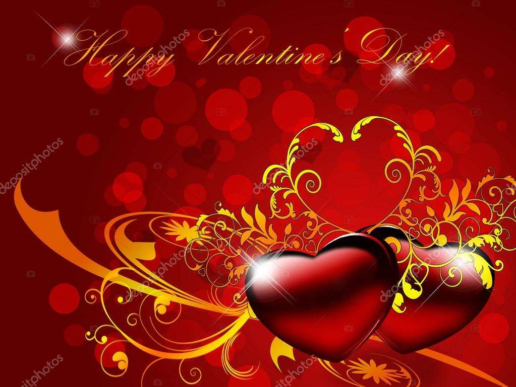 Red valentines background with hearts and ornament — Stock Photo #18174373