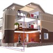Stock Photo: Three storey cottage. 3d rendering