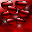 Shiny red hearts — Stock Photo