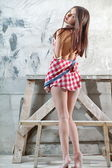 Beautiful girl in a checkered shirt — 图库照片