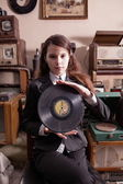 Girl with LP record — Stok fotoğraf