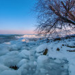 Winter shore of Lake Baikal — Stock Photo