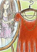 Girl in mirror — Stock Photo