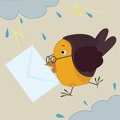 Bird with envelope — Stock Vector