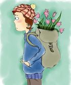 Boy with pink tulips in bag behind his back — Stock Photo