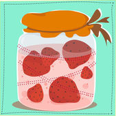 Jar with jam and strawberries in it — Stock Vector