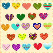 Decorated hearts, patterns — Stock Vector