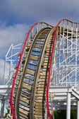 Amazing roller coaster track — Stock Photo