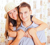 Portrait of the young happy smiling couple — Stock Photo