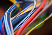 Macro photo of the many colorful cable — Foto Stock