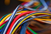Macro photo of the many colorful cable — Stock Photo