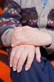 Old man whit holding hands — Foto Stock