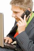 Affärsman talar på mobil — Stockfoto