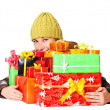 Sweet young girl with christmas present — Foto Stock