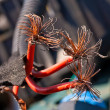 Red cable with copper fibers inside — Stock fotografie