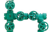 Green pipe system with valves — Stock fotografie