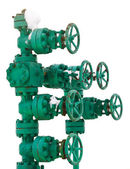 Green pipe system with valves — Stock Photo
