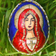 Religious elements painted on an easter egg — Stock Photo