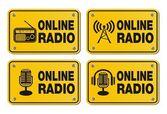 Online radio - rectangle yellow signs — Stock Vector