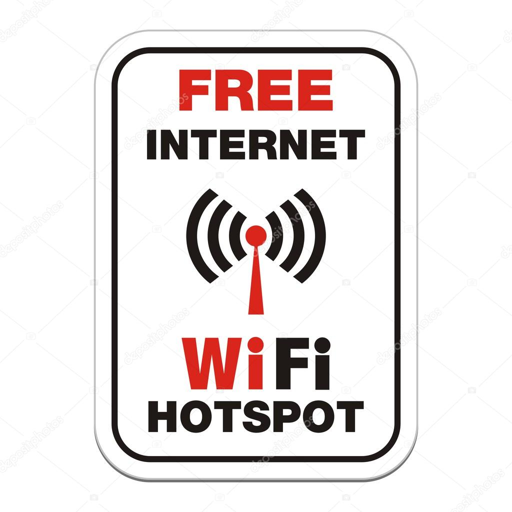 Free internet wifi hotspot sign - rectangle sign — Stock Vector ...