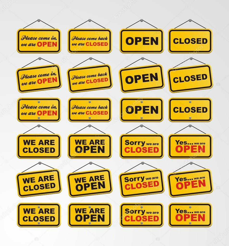 open sign and closed sign for online shop decoration stock vector yellomello 44977281. Black Bedroom Furniture Sets. Home Design Ideas