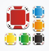 Poker chips buttons - suitable for button apps — Stock Vector