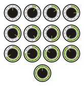 Timer icon sets - green indicator — Stock Vector