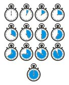 Timer icon sets - blue stop watch — Stock Vector
