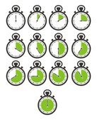 Timer icon sets - green stop watch — Stock Vector