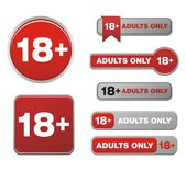 18plus for adults only button sets — Stock Vector