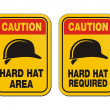 Caution hard hat required signs - yellow signs — Stock Vector #45057115