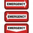 Emergency signs - red sign — Stock Vector