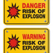 ������, ������: Risk of explosion rectangle yellow signs