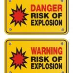Постер, плакат: Risk of explosion rectangle yellow signs