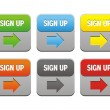 Colorful sign up buttons — Vettoriale Stock