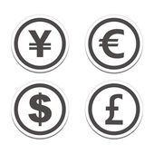 Currency circle sticker sets — Stock Vector